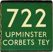 London Transport coach stop enamel E-PLATE for Green Line route 722 destinated Upminster, Corbets