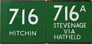 Pair of London Transport coach stop enamel E-PLATES comprising 716 destinated Hitchin (these were