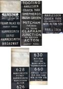 Pair of London Transport TROLLEYBUS DESTINATION BLINDS from Hammersmith (HB) depôt, the first for