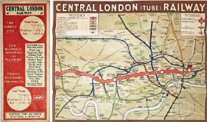 1912 Central London Railway POCKET MAP titled 'Central London (Tube) Railway' with a brown border