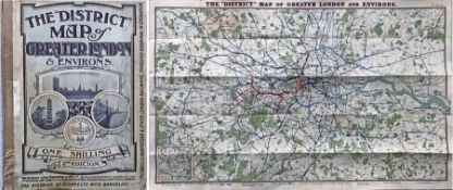 "1907 ""District"" [Railway] MAP of Greater London & Environs, 2nd edition. Shows the Franco-British"