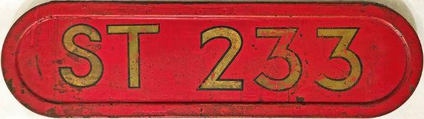 London Transport bus bonnet FLEETNUMBER PLATE from ST 233, a standard, AEC Regent ST. The original