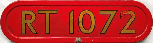 London Transport RT-bus BONNET FLEETNUMBER PLATE from RT 1072. The first bus to carry this number, a