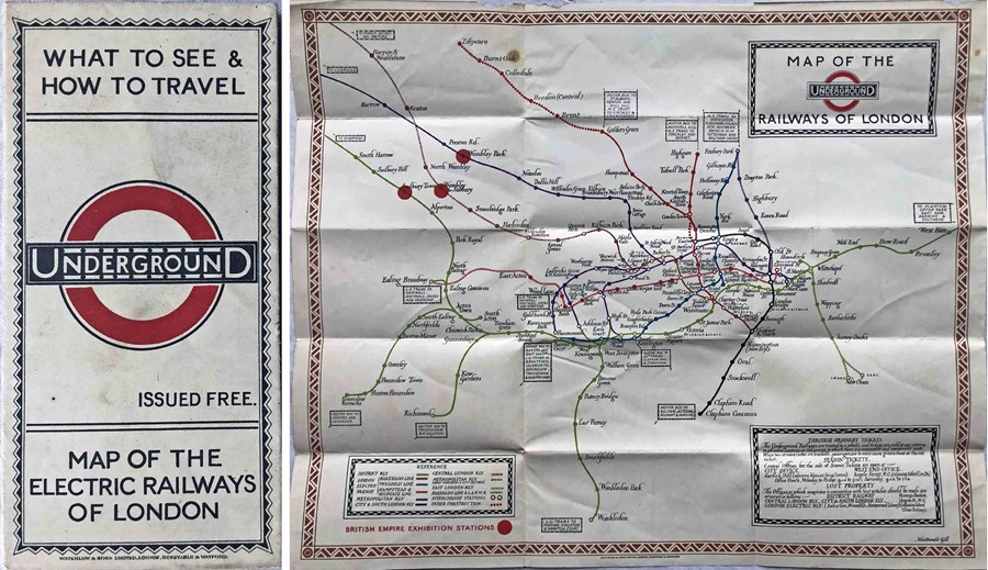 """1923 London Underground MAP of the Electric Railways of London """"What to see and how to travel""""."""