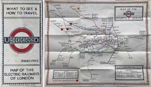 "1923 London Underground MAP of the Electric Railways of London ""What to see and how to travel""."