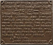 """Great Western & London & North Western Joint Rlys cast-iron WEIGHBRIDGE NOTICE reading """"Steam"""