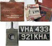 Selection of Midland Red items comprising 2 FRONT REGISTRATION PLATES: VHA 433 (ex 1955 D7) and