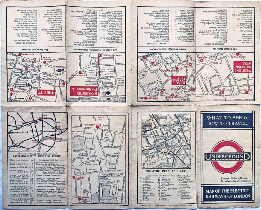 1921 London Underground MAP OF THE ELECTRIC RAILWAYS OF LONDON 'What to See & How to Travel' with - Image 2 of 2