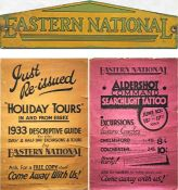Eastern National Omnibus Co items comprising a c1930s TIMETABLE HEADER PLATE (screen-painted