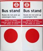 Pair of most unusual London Transport 1990s enamel BUS STOP FLAGS, the first an example lettered '