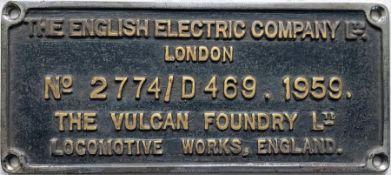 British Railways Class 40 diesel chrome-on-brass WORKSPLATE No 2774/D469.1959 from the English