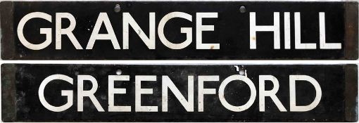London Underground Standard Tube Stock enamel CAB DESTINATION PLATE for Grange Hill / Greenford from