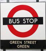 1950s/60s London Transport enamel BUS STOP SIGN 'Green Street Green' from a 'Keston' wooden bus