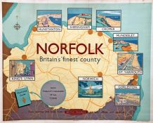 "1950s British Railways (Eastern Region) quad-royal POSTER 'Norfolk - Britain's ""finest"" county' by"