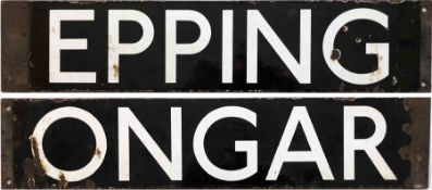 London Underground enamel CAB DESTINATION PLATE Epping / Ongar. We believe this to be from one of