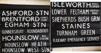 London Transport Routemaster DESTINATION BLIND from Hounslow (AV) garage dated 7.2.73 and coded 'NN'