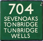 London Transport coach stop enamel E-PLATE for Green Line route 704 destinated Sevenoaks, Tonbridge,