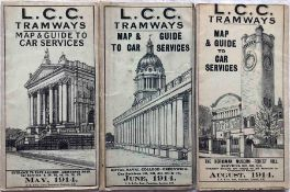 Trio of 1914 LCC Tramways POCKET MAPS ('Map & Guide to Car Services') comprising issues dated May