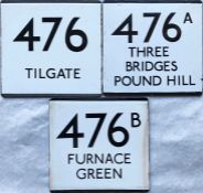 Trio of London Transport bus stop enamel E-PLATES for the 476 group of routes comprising 476