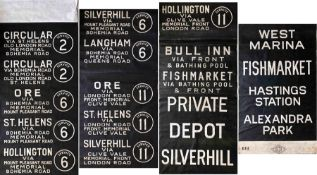 1950s Hasting Tramways TROLLEYBUS DESTINATION BLIND. The panels are a mixture of Maidstone &