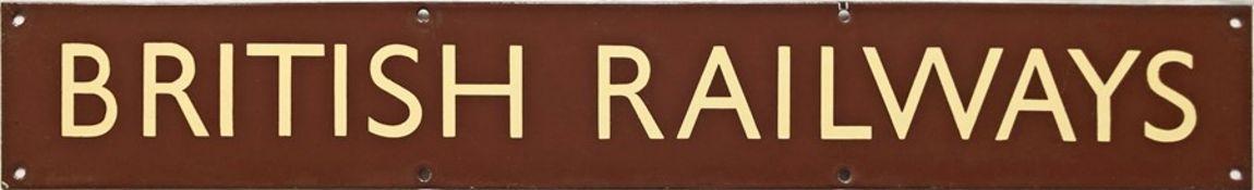 British Railways (Western Region) enamel HEADER PLATE 'British Railways' from a poster board.