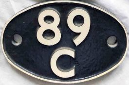 British Railways (Western Region) cast-iron LOCOMOTIVE SHEDPLATE 89C used by Machynlleth until 1963.