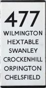 London Transport bus stop enamel E-PLATE, a double-vertical plate for route 477 destinated