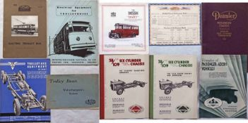 Quantity (10) of 1920s/30s/50s bus & trolleybus MANUFACTURERS' BROCHURES including 1931 Dennis Dart,