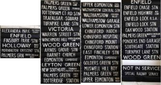 London Transport DESTINATION BLIND for a Routemaster or Metrobus at Palmers Green (AD) garage
