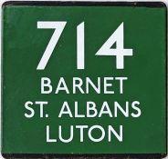 London Transport coach stop enamel E-PLATE for Green Line route 714 destinated Barnet, St Albans,