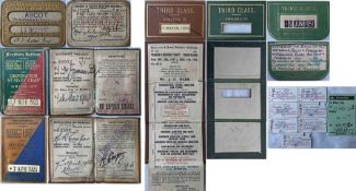 Selection (6) of 1907 onwards RAILWAY SEASON TICKETS, all in leatherette holders, comprising 1907