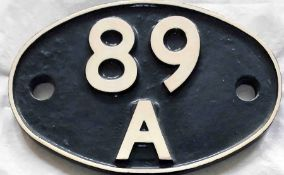British Railways (Western Region) cast-iron LOCOMOTIVE SHEDPLATE 89A used by Oswestry until 1961 and