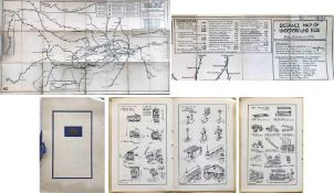Pair of items by Fred Stingemore (1890-1954) comprising a 1921 DISTANCE MAP OF UNDERGROUND RAILWAYS,