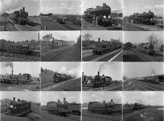 Quantity (c90) of 1940s/50s b&w STEAM RAILWAY NEGATIVES (120-size, 6cm x 4.5cm) taken by the railway