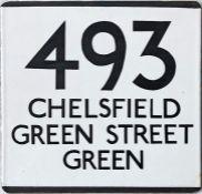 London Transport bus stop enamel E-PLATE for route 493 destinated Chelsfield, Green Street Green.