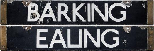London Underground Q-Stock enamel CAB DESTINATION PLATE Barking / Ealing on the District Line.
