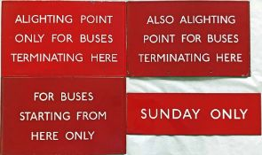 Selection (4) of London Transport bus stop enamel G-PLATES comprising 'Alighting Point Only for