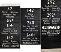 London Transport RT DESTINATION BLIND from Edgware (EW) garage dated 21.12.65 and coded 'S' for