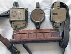 Trio of TICKET PUNCH MAHINES comprising a Bell Punch, serial no 68404, with backplate & strap, a