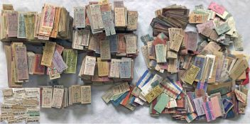 Huge quantity (6,500+) of 1940s/50s/60s BUS & RAIL TICKETS, mainly the former and mainly punch type.