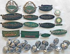 Large quantity of BUS CAP/LAPEL BADGES (15) and UNIFORM BUTTONS (20), badges are 12 for