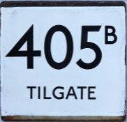 London Transport bus stop enamel E-PLATE for route 405B destinated Tilgate. Likely to have been