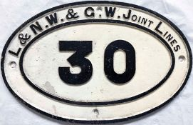 """LNWR & GWR Joint Lines cast-iron BRIDGEPLATE no 30. Measures 17.5"""" x 11.5"""" (44cm x 29cm). In very"""