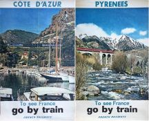 """Pair of 1960s/70s French National Railways (SNCF) double royal POSTERS from the """"To see France, go"""