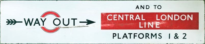 1930s London Underground ENAMEL SIGN 'Way Out and to Central London Line, Platforms 1 & 2'. Note the