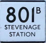 London Country bus stop enamel E-PLATE for route 801B destinated Stevenage Station. Likely to have