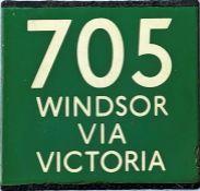 London Transport coach stop enamel E-PLATE for Green Line route 705 destinated Windsor via Victoria.
