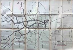 """1903 MAP """"Diagram of the Omnibus Routes in Central London"""" for the Royal Commission on London"""