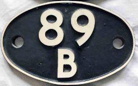 British Railways (Western Region) cast-iron LOCOMOTIVE SHEDPLATE 89B used by Brecon until 1959 and