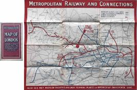1924 Metropolitan Railway POCKET MAP, the Met's own version of the London Underground map. This is
